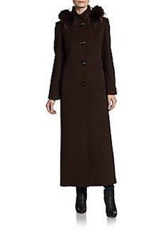 Cinzia Rocca DUE Raccoon-Trimmed Wool/Cashmere Maxi Coat