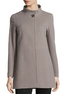 Cinzia Rocca Due Wool-Blend Mid-Length Coat, Taupe