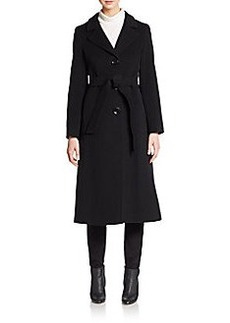 Cinzia Rocca Fleece Wool-Blend Long Coat/Black