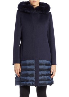CINZIA ROCCA Fox Fur-Trimmed Wool Coat