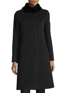 Cinzia Rocca Fur-Collar Button-Front Coat