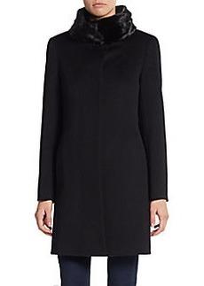 Cinzia Rocca Fur Collar Virgin Wool Coat