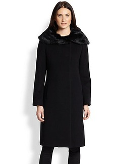 Cinzia Rocca Fur-Collar Walking Coat