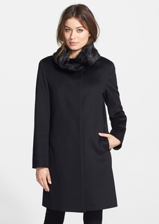 Cinzia Rocca Genuine Mink Collar Wool Coat