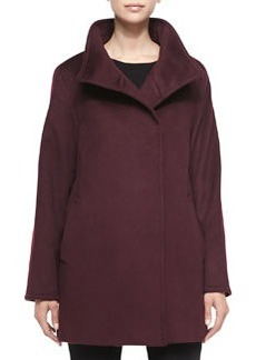 Cinzia Rocca Hidden-Button Wool Coat, Plum