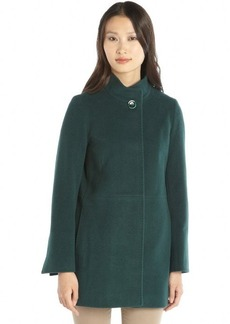Cinzia Rocca hunger green wool and cashmere knit stand collar button front coat