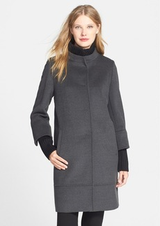 Cinzia Rocca Knit Trim Stand Collar Wool Coat