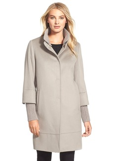 Cinzia Rocca Knit Trim Stand Collar Wool Coat (Regular & Petite)