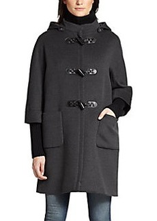 Cinzia Rocca Knit-Trim Wool Toggle Coat