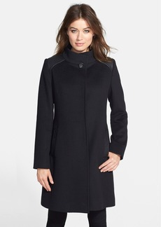 Cinzia Rocca Leather Trim Stand Collar Wool Coat