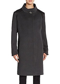 Cinzia Rocca Leather-Trimmed Wool Coat