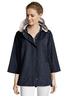 Cinzia Rocca midnight water-resistant cotton hooded swing coat