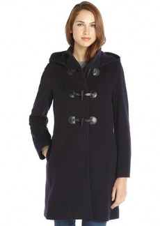 Cinzia Rocca midnight wool and cashmere blend hooded toggle front coat