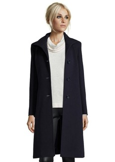 Cinzia Rocca midnight wool blend stand collar button front coat