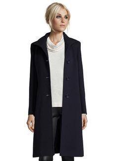 Cinzia Rocca midnight wool blend stand collar button front coat