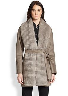 Cinzia Rocca Mink-Collar Wool/Silk Coat