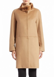 CINZIA ROCCA Mink-Collared Wool Coat