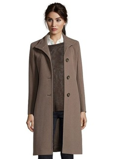 Cinzia Rocca mocha wool blend stand collar button front coat