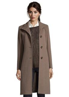 Cinzia Rocca mocha wool blend stand collar button front coat