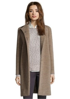 Cinzia Rocca oatmeal wool and alpaca stand collar 3/4 length coat