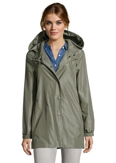 Cinzia Rocca olive green waxy water-resistant hooded anorak