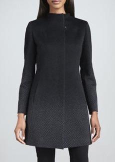 Cinzia Rocca Ombre Herringbone Angora-Wool Coat
