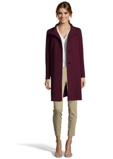 Cinzia Rocca plum wool and cashmere blend stand collar a-line coat