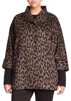 Cinzia Rocca, Plus Size Alpaca & Wool Leopard-Print Coat