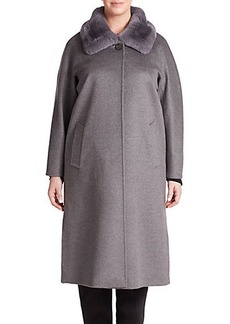 Cinzia Rocca, Plus Size Fur-Trimmed Wool Coat