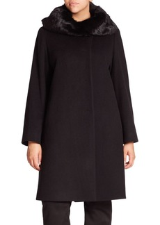 Cinzia Rocca, Plus Size Fur-Trimmed Wool Walking Coat
