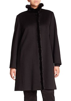 Cinzia Rocca, Plus Size Mink-Trimmed Walking Coat