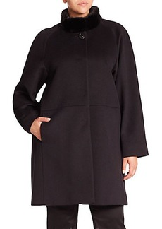 Cinzia Rocca, Plus Size Mink-Trimmed Wool Walking Coat