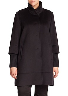 Cinzia Rocca, Plus Size Wool Ribbed-Trim Walking Coat