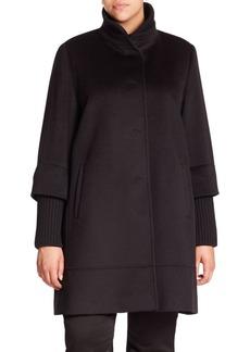 Cinzia Rocca, Plus Size Wool Ribbed-Trim Walking Coat