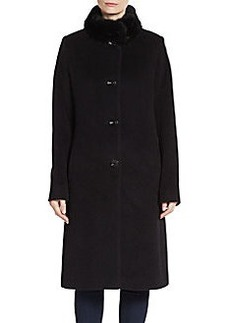 Cinzia Rocca Rabbit Fur-Trimmed A-Line Coat