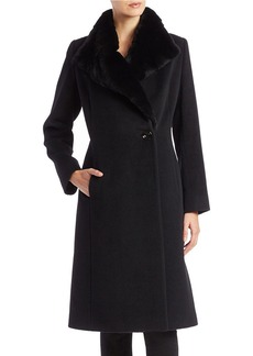 CINZIA ROCCA Rabbit Fur-Trimmed Virgin Wool Coat