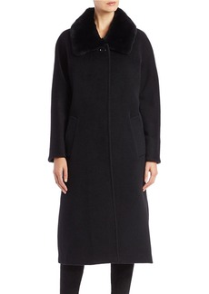 CINZIA ROCCA Relaxed Rabbit Fur-Trimmed Coat