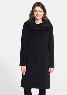 Cinzia Rocca Ruched Collar Long Wool Dress Coat