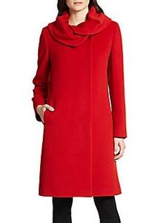 Cinzia Rocca Ruffle-Collar Walking Coat