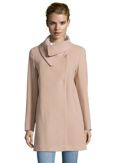 Cinzia Rocca sand wool and cashmere blend envelope collar coat
