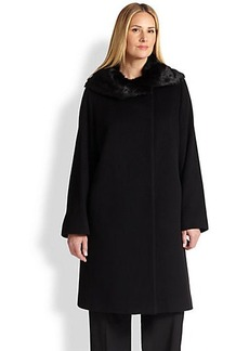 Cinzia Rocca, Sizes 14-24 Fur-Collar Walking Coat