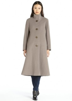 Cinzia Rocca taupe wool and cashmere stand collar button front coat