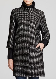 Cinzia Rocca Tweed Coat with Knit Trim