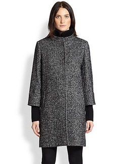 Cinzia Rocca Tweed Knit-Trim Walking Coat