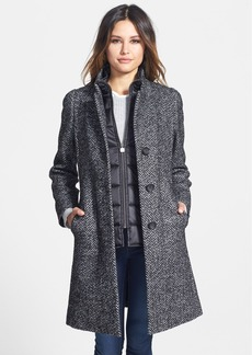 Cinzia Rocca Wool Blend Walking Coat with Removable Quilted Bib (Petite)