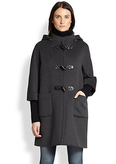 Cinzia Rocca Wool Knit-Trim Toggle Coat
