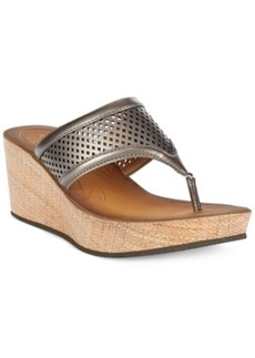Clarks Collection Women's Avaleen Ocean Platform Wedge Thong Sandals Women's Shoes