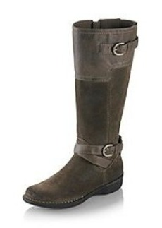 """Clarks® """"Whistle Woven"""" Belted Biker Boots"""