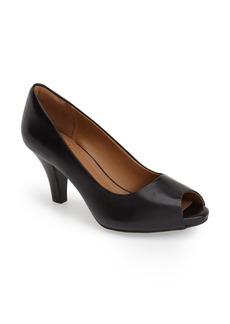 Clarks® 'Florine Portia' Peep Toe Leather Pump (Women)