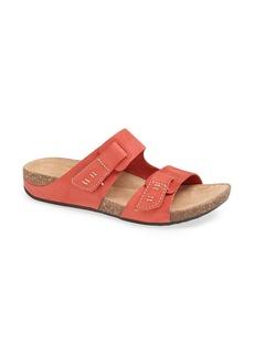 Clarks® 'Perri Coast' Nubuck Slide Sandal